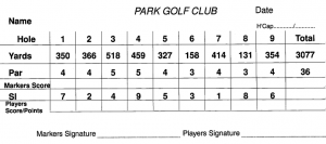 Park Golf Club 9-Hole Yellow Tee Card