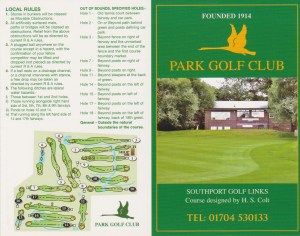 Park Golf Club Score Card Front